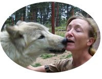 Unique nature art by studio d'une. Rebecca with her friend, a timber wolf.
