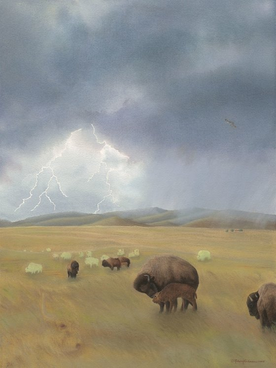 Unique nature art from studio d'une. Bison as one with the prairie.