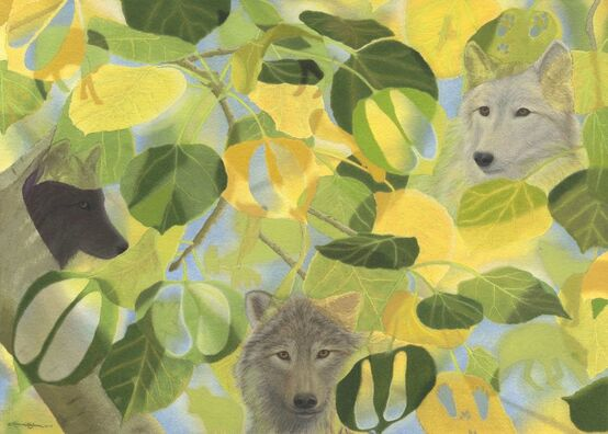 Nature art from studio d'une. Wolves as one with prey populations and aspen in the fall.