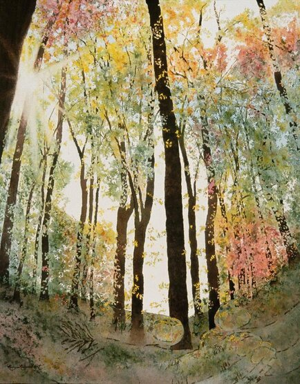 Unique nature art by studio d'une. Beautiful forest in autumn & care for the earth.